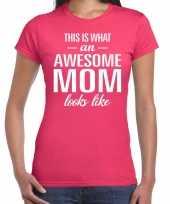 Awesome mom t shirt roze voor dames cadeau moeder