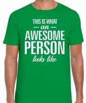 Awesome person fun t-shirt groen voor heren