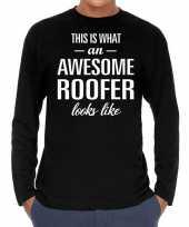 Awesome roofer dakdekker cadeau shirt zwart voor heren