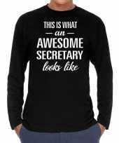 Awesome secretary secretaris cadeau shirt zwart voor heren