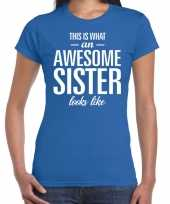 Awesome sister fun t-shirt blauw voor dames
