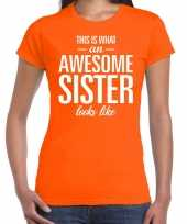 Awesome sister fun t-shirt oranje voor dames