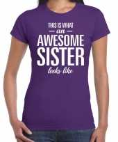 Awesome sister fun t-shirt paars voor dames