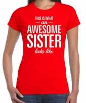 Awesome sister fun t-shirt rood voor dames