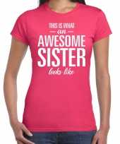 Awesome sister fun t-shirt roze voor dames