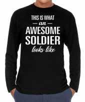 Awesome soldier soldaat cadeau shirt zwart voor heren