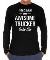 Awesome trucker vrachtwagenchauffeur cadeau shirt zwart voor heren