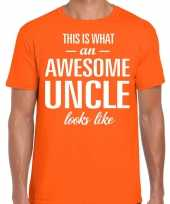 Awesome uncle oom cadeau t-shirt oranje voor heren