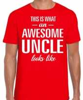 Awesome uncle oom cadeau t-shirt rood voor heren