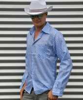 Blauw geruit cowboy overhemd voor heren