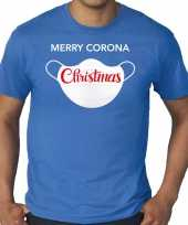 Blauw kerst-shirt kerstkleding merry corona christmas voor heren grote maten