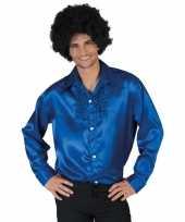 Blauwe rouche overhemd voor heren