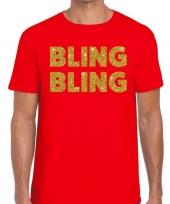 Bling bling fun t-shirt rood voor heren