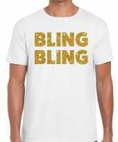 Bling bling fun t shirt wit voor heren