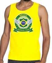 Brazil drinking team tanktop mouwloos shirt geel heren