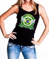 Brazil drinking team tanktop mouwloos shirt zwart dames