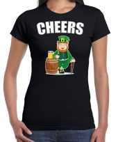 Cheers feest-shirt outfit zwart voor dames st patricksday