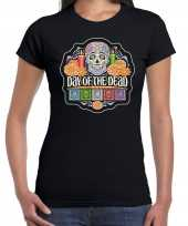 Day of the dead sugar skull horror halloween shirt kostuum zwart voor dames
