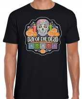 Day of the dead sugar skull horror halloween shirt kostuum zwart voor heren