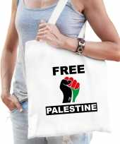 Demonstratie palestina katoenen tasje met free palestine wit heren