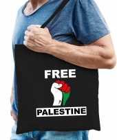 Demonstratie palestina katoenen tasje met free palestine zwart heren