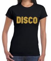 Disco gouden letters fun t-shirt zwart voor dames
