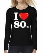 Eighties long sleeve shirt met i love 80s bedrukking zwart voor dames