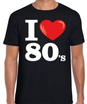 Eighties shirt met i love 80s bedrukking zwart voor heren