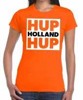 Ek wk supporter t-shirt hup holland hup oranje voor dames