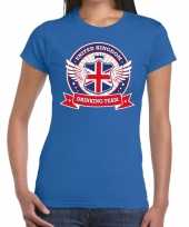 Engeland drinking team t-shirt blauw dames