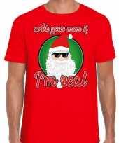 Fout kerst-shirt stoere kerstman i am real rood voor heren