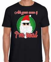 Fout kerst-shirt stoere kerstman i am real zwart voor heren