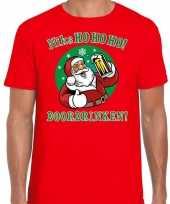 Fout kerst-shirt zuipende kerstman niks ho ho ho doordrinken rood voor heren