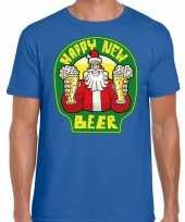 Fout oud en nieuw kerst-shirt happy new beer blauw voor heren