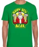 Fout oud en nieuw kerst-shirt happy new beer groen voor heren