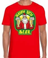 Fout oud en nieuw kerst-shirt happy new beer rood voor heren