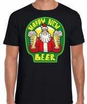 Fout oud en nieuw kerst-shirt happy new beer zwart voor heren