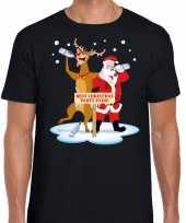 Foute kerstmis shirt zwart met een dronken kerstman en rudolf voor heren