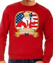 Foute kersttrui rood met trump christmas is gonne be huge heren