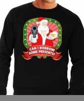Foute kersttrui zwart kerstman met pistool can i borrow some presents heren