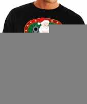 Foute kersttrui zwart kerstman met pistool heren 10125387