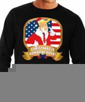 Foute kersttrui zwart met trump christmas is gonne be huge heren