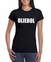 Foute oud en nieuw t-shirt oliebol zwart voor dames