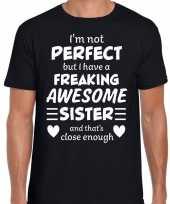 Freaking awesome sister zus cadeau t-shirt zwart voor heren