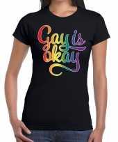 Gay is okay gaypride tekst fun shirt zwart dames