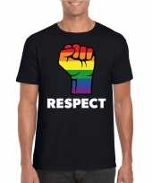 Gay pride respect lgbt-shirt zwart heren