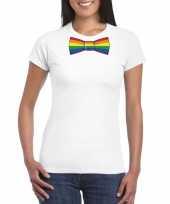 Gay pride shirt met regenboog vlinderstrikje wit dames