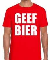 Geef bier fun t-shirt voor heren rood