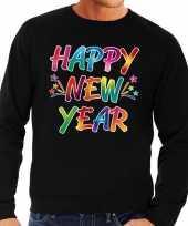 Gekleurde happy new year sweater trui zwart voor heren