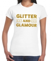 Glitter and glamour goud fun t-shirt wit voor dames